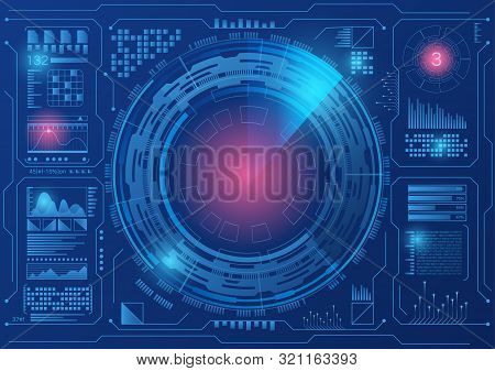 Sci Fi Hologram Control Panel Dashboard In Hud Style. Abstract Virtual Graphic. Vector Illustration.