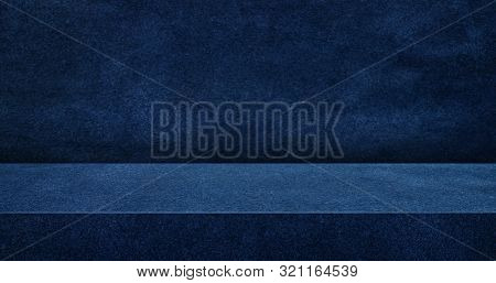 Navy Blue Suede Leather Texture Table Product Display Background.3d Perspective Studio Photography S