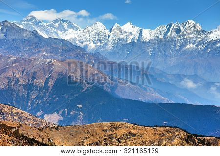 Panoramic View Of Himalaya Range From Pikey Peak - Trekking Trail From Jiri Bazar To Lukla And Evere