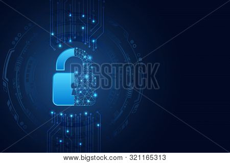 Data Protection Privacy Concept. Padlock Icon And Internet Technology Networking Connection. Cyber S