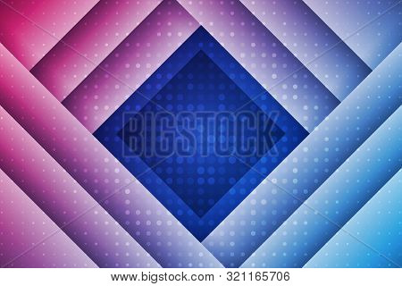 Abstract Geometric Background With Rectangles And Dots. Blue And Red Composition With Geometric Shap