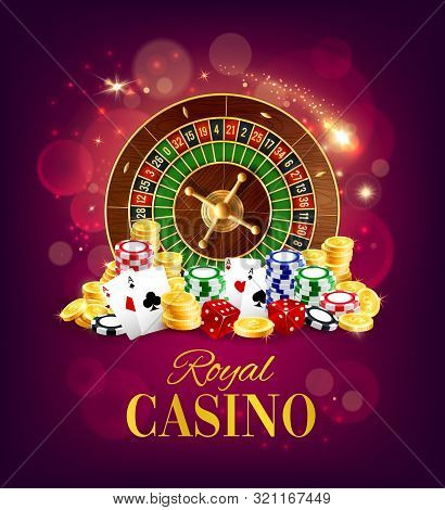 Royal Casino, Wheel Of Fortune And Gambling Dices, Poker Playing Cards On Blurred Purple. Vector Gam