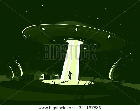 Alien Plate Abducts Man. Spaceship At Night