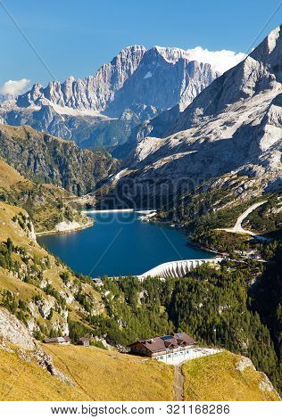 View Of Lago Di Fedaia And Mount Civetta, Dolomiti, Italy, Alps Dolomites Mountains
