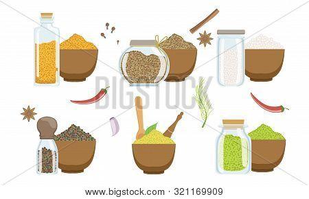 Spices In Wooden Bowl Set, Peppercorns, Sesame, Fennel Seeds, Svanuri Marili, Curcuma Powder, Himala