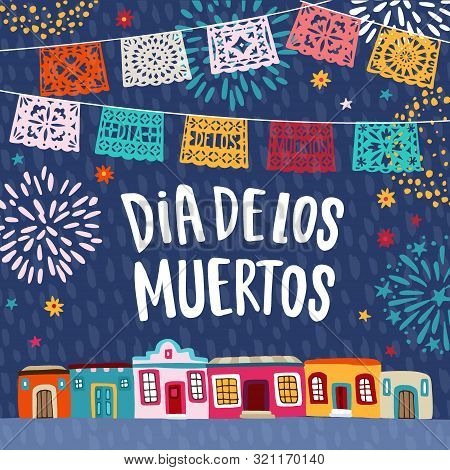 Dia De Los Muertos, Mexican Day Of The Dead Greeting Card, Invitation. Latin American Holiday. Garla
