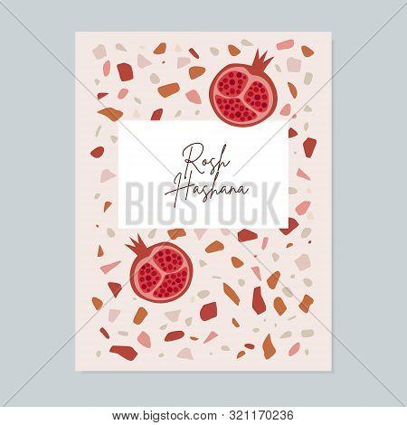Rosh Hashana, Jewish New Year Greeting Card, Invitation. Modern Terrazzo Textured Background With Po
