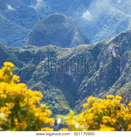 Machu Picchu Inca Town Seen From Start Of Salkantay Trek Near Cusco In Peru