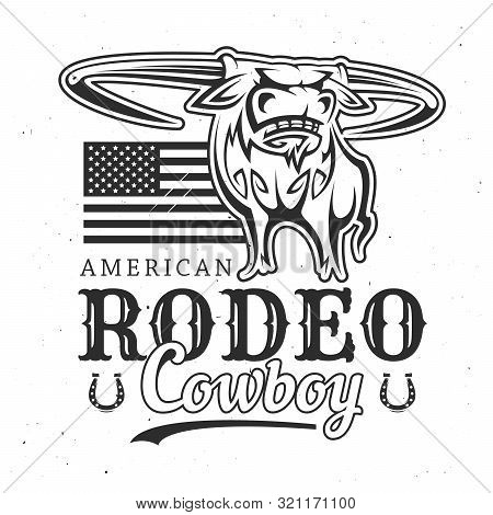 American Rodeo And Cowboy Buffalo With Usa Flag. Vector T-shirt Print Design, Bucking Bull With Horn