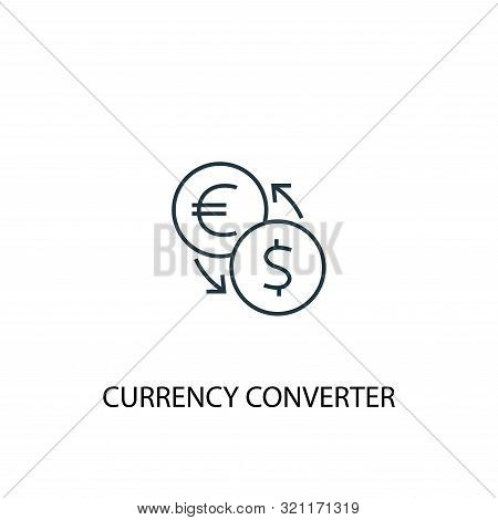 Currency Converter Concept Line Icon. Simple Element Illustration. Currency Converter Concept Outlin