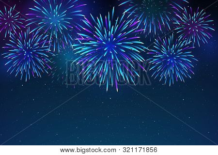 Colorful Fireworks On A Dark Blue Background. Beautiful Festive Sky For Bright Design. Bright Firewo