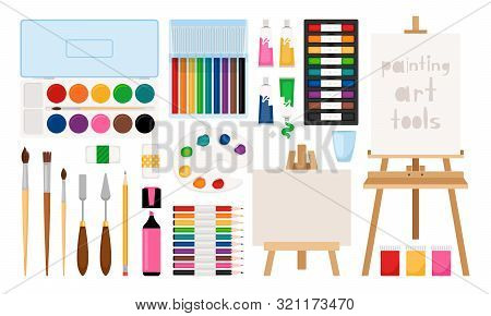 Painter Art Tools. Paint Arts Tool Kit Vector Illustration, Vector Watercolor Painting Design Artist