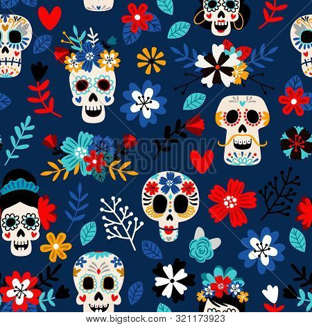 Day Of The Dead Pattern. Dia De Los Muertos Mexican Festival Seamless Color Pattern With Dead Colors