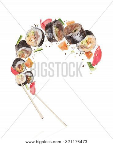 Fresh Sushi Rolls With Ingredients, Isolated On White Background