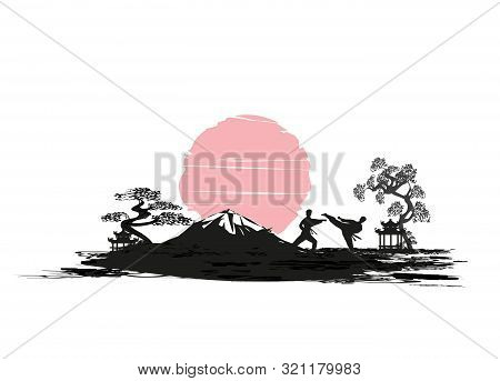 Karate Occupations Man Silhouette Abstraction Card , Vector Illustration