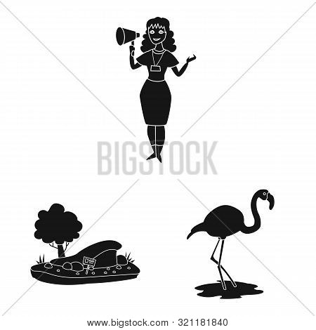 poster of Isolated object of fauna and entertainment sign. Set of fauna and park stock symbol for web.