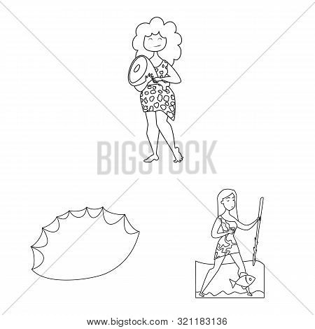 Isolated Object Of Primitive And Archeology Logo. Collection Of Primitive And History Vector Icon Fo