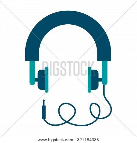 Headphones In Flat Style. Pink Headphones. Headphones Icon. Stereo Headphones Icon. Flat Design. Hea