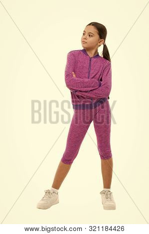 poster of Deal with long hair while sport exercising. Working out with long hair. Girl cute kid with ponytails wear sport costume isolated on white. Stay comfortable with long hair during sport classes.
