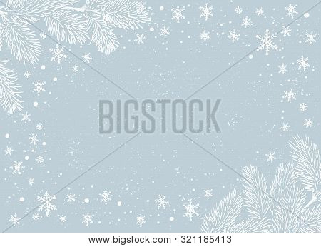 Christmas Poster - Illustration. Vector Illustration Of Christmas Background With Branches Of Christ