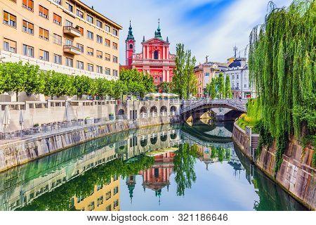 poster of Ljubljana, Slovenia. Cityscape on Ljubljanica river canal in old town.