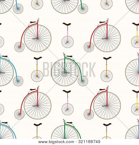Retro Bicycle Texture. Unicycle And Penny Farthing. Seamless Vector Pattern Eps10.
