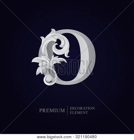 Elegant Letter O With Floral Baroque Ornament. Antique Capital Letter Is Surrounded With White Decor