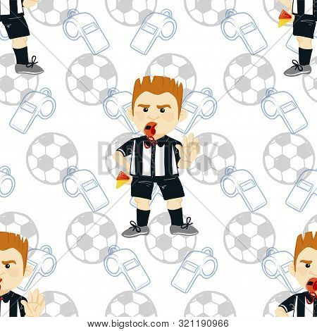 Vector Seamless Pattern. Whistling Soccer Referee Showing Stopping Hand During Match, Human Characte