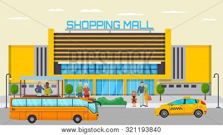 Shopping Mall Transport Stop With Different City People Standing And Waiting For Transport Vector Il