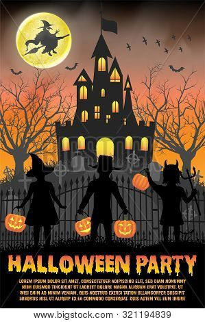 Halloween Kids Costume Party In Front Of Witch Haunted Castle Poster