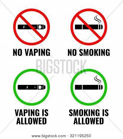 Vector Signs. No Vaping, No Smoking. Vaping Is Allowed And Smoking Is Allowed. Vector Illustration E