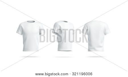 Blank White Clean Tshirt Mockup, Front, Side And Back View, 3d Rendering. Empty Footbal Wear Mock Up