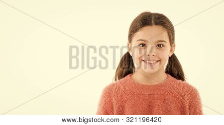 Brilliant Smile. Child Happy Cheerful Enjoy Childhood. Girl Adorable Smiling Happy Face. Kid Charmin