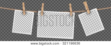 Retro Photo Frames Hanging On Rope Isolated On Transparent Background, Frames Templates For Digital