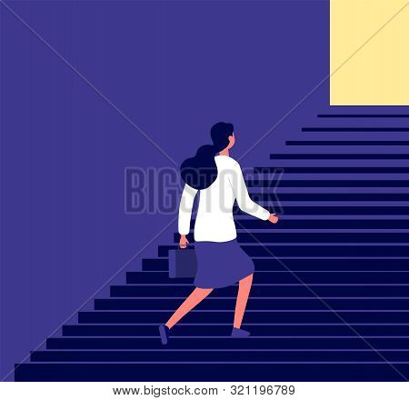 Businesswoman Walking Up Stairs. Successful Business Pathway Career, Progression Steps Planning, Fem