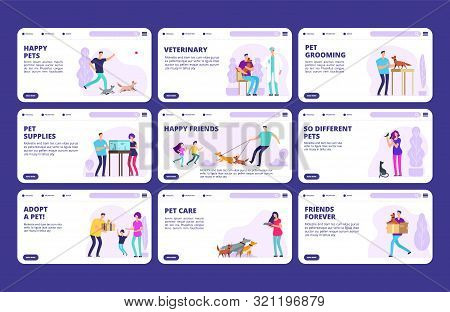 People With Pets Landing Pages Template. Vector Characters People, Dogs, Cats, Birds. Website Veteri