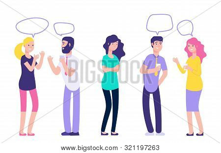 Ignoring In A Team. Chatting Couples Disregard Sad Woman Vector Illustration. People Man And Woman T