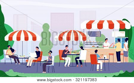 Summer Outdoor Cafe. People Sitting At Table In Street Cafe, Drinking And Eating Fast Food Lunch. Su