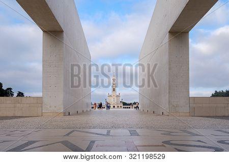 Fatima, Portugal - August 31, 2019 : Pilgrims And Tourists Visit The Sanctuary Of Fatima, Fatima, Po