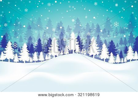 Festive Background With Winter Snowy Landscape, Snowflakes And Patterned Christmas Tree.