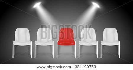 Vacant Chairs. Hiring Vector Concept. Job Recruiting. Job Chair Empty, Vacant Place Vacancy Illustra