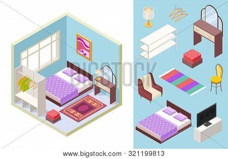 Bedroom Isometric. Vector Bed, Lamp, Chair, Bookshelf, Pillows. Isometric Furniture Set. Illustratio