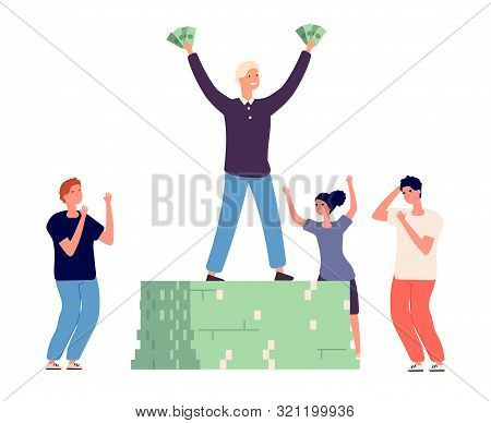 Success And Envy. Rich Happy Man And Angry Conflicted People Vector Characters. Illustration Success