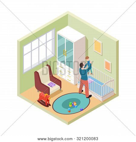 Nursery Interior. Isometric Father And Son In Kids Room. Vector Nursery Room Furniture. Parenthood A