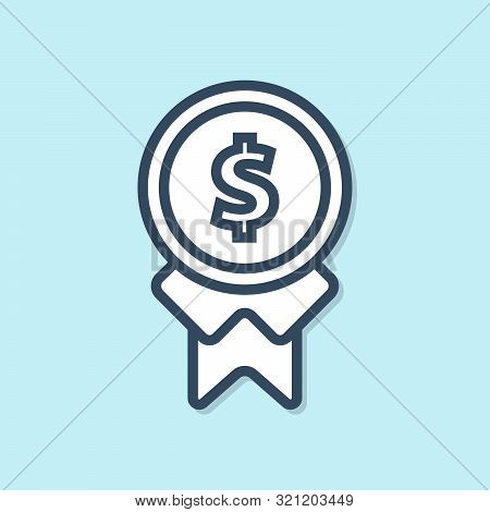 Blue Line Reward For Good Work Icon Isolated On Blue Background. Employee Of The Month, Talent Award