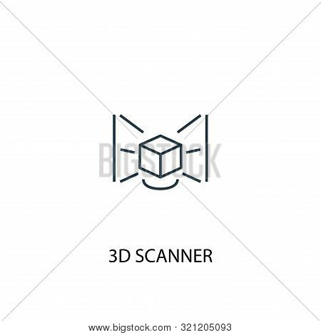 3d Scanner Concept Line Icon. Simple Element Illustration. 3d Scanner Concept Outline Symbol Design.