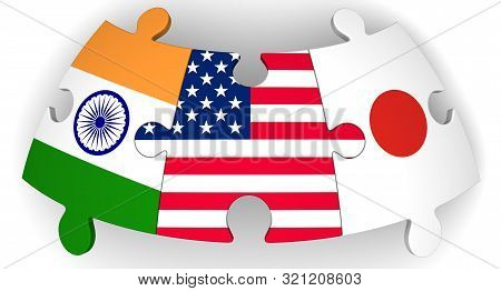 Cooperation Of Usa, Japan And India. Puzzles With Flags Of United States Of America, Japan And India