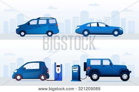 Electric Cars Vs Gas Cars >> Cartoon Electric Cars Vector Photo Free Trial Bigstock