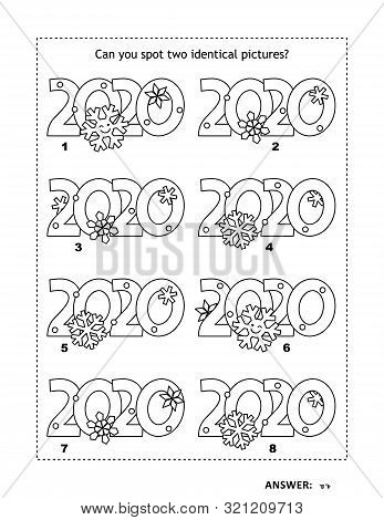 Iq Training Visual Logic Puzzle And Coloring Page With Year 2020 Headings. Winter Holidays, Christma