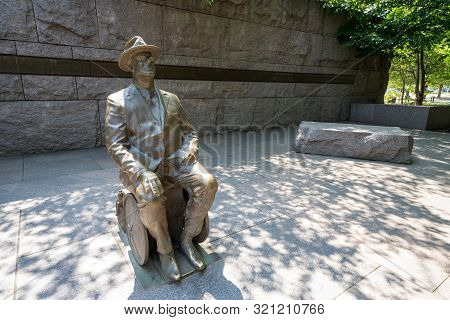 Washington, Dc - August 6, 2019: Statue Of Franklin Roosevelt Sitting In His Wheelchair In Franklin